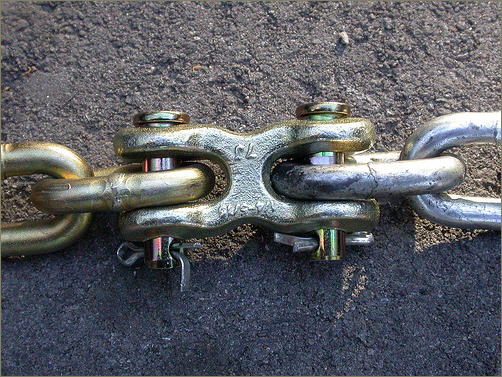 Double clevis attaches chain extension to existing chain